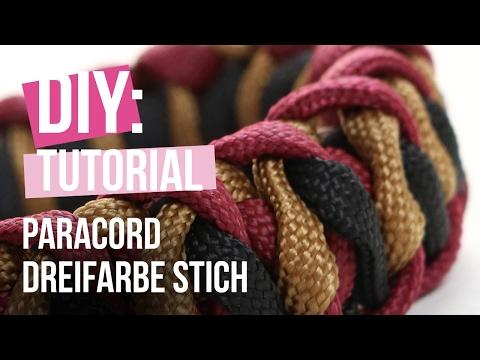 DIY TUTORIAL – Paracord Armband mit Mad Max Dreifarbe Stich – Selbst Schmuck machen