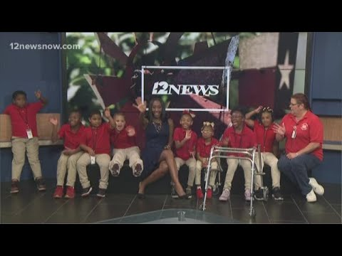 Students from Beaumont's  Blanchette Elementary School visit the 12News studio