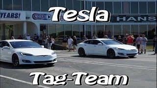 Tesla P100D & P90D Tag Team 1/4 Dragstrip vs Muscle Cars!