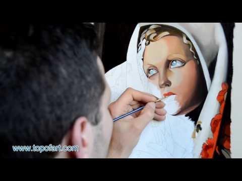 Art Reproduction (Tamara de Lempicka - The Polish Girl) Hand-Painted Oil Painting