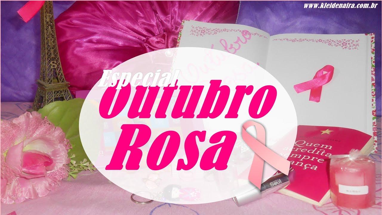 Itens de DECORA u00c7ÃO e FOFOS COR DE ROSA #outubrorosa Kleide Naira YouTube -> Decoração Mesa Outubro Rosa