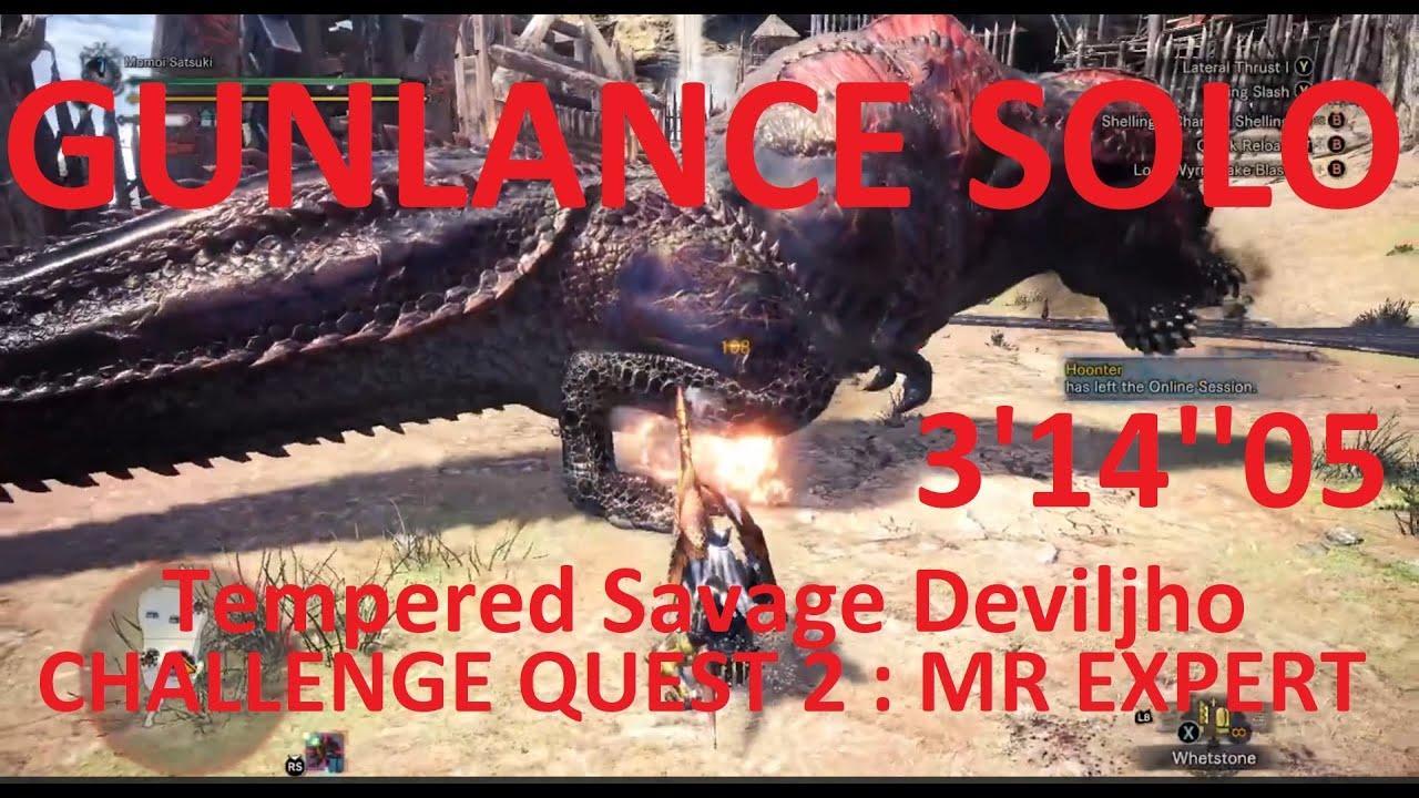 MHWI | Challenge Quest 2: MR Expert GunLance 03'14''05 SOLO (A Rank)
