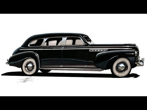 Realistic Car Drawing - 1941 Buick Limited Series 90 - Time Lapse
