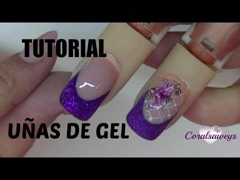 uas de gel decoradas con purpurina glitter nail