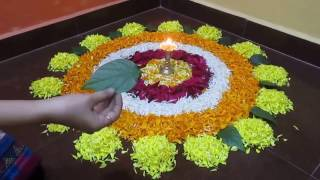 Flower rangoli - easy and beautiful