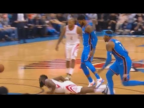 James Harden & Paul George Bump Each Other to the Ground! Rockets vs Thunder