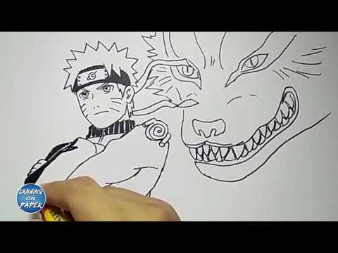 Very Easy!! How to Draw Naruto and Kurama - Drawing doodle