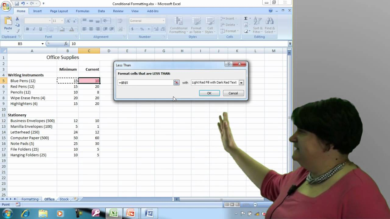 microsoft word conditional formatting