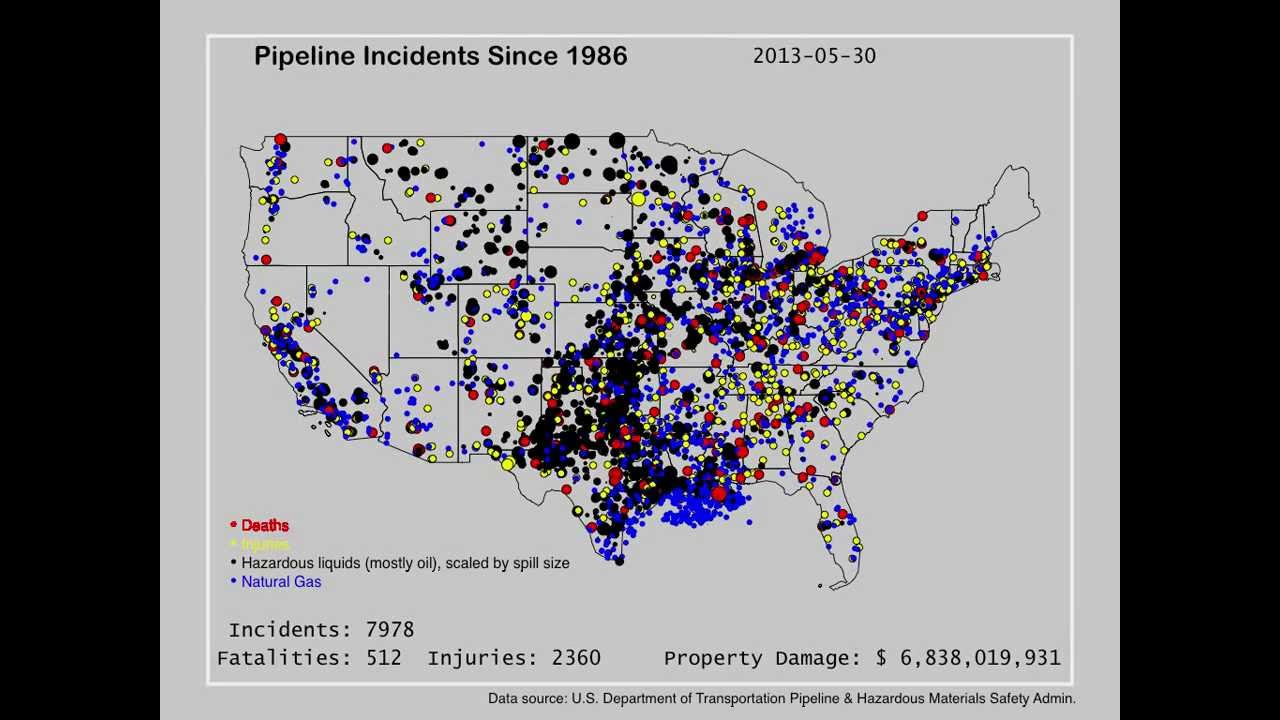 Americas Dangerous Pipelines YouTube - Map of oil spills in the us