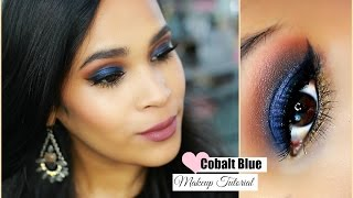 Colourpop Bold Blue Fall Makeup Tutorial - Cobalt Blue - Fall Makeup Medium Skin Tone MissLizHeart