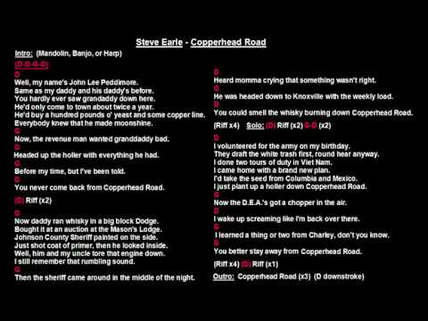 Steve Earle - Copperhead Road (Backing Track with guitar chords and lyrics)