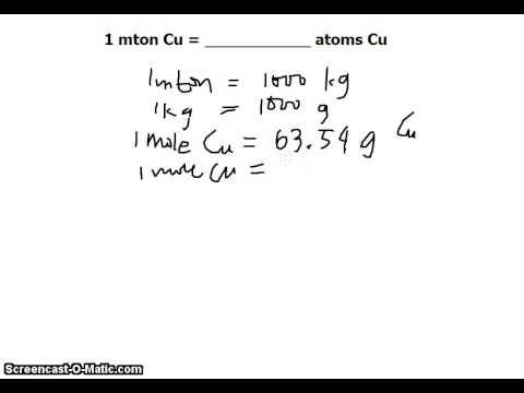 unit conversion 1 metric ton copper to copper atoms youtube. Black Bedroom Furniture Sets. Home Design Ideas