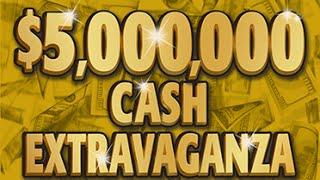 Huge Winner! $5,000,000 Cash Extravaganza Instant Lottery Scratch Off Ticket #10