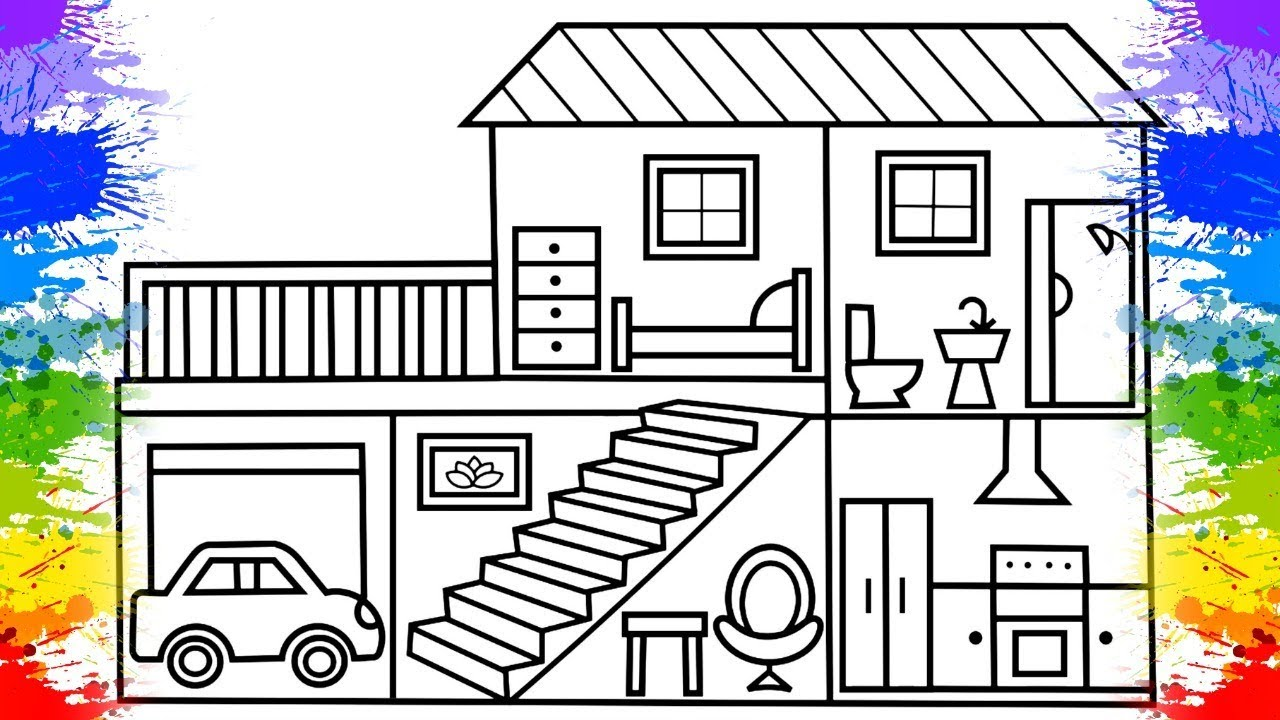Learn colours how to color a house for kids house toys for children house coloring pages for kids