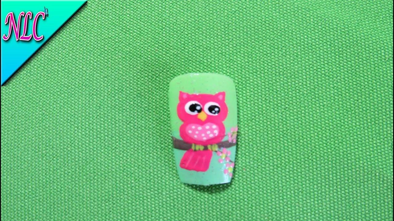 Decoracion de uñas Búho - Como Pintar un búho - Owl Nail art - NLC ...
