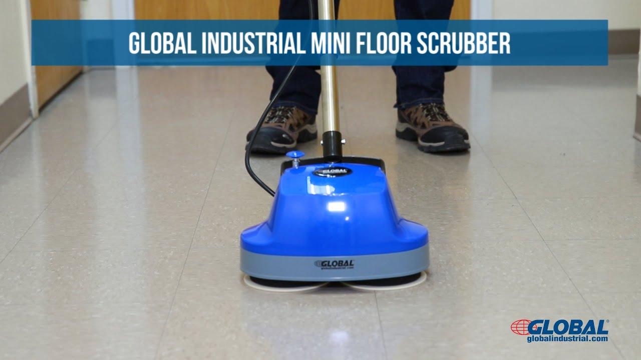 Global Industrial Mini Floor Scrubber With Floor Pads Youtube