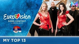 Eurovision 2018 - MY TOP 13 (so far) | & comments