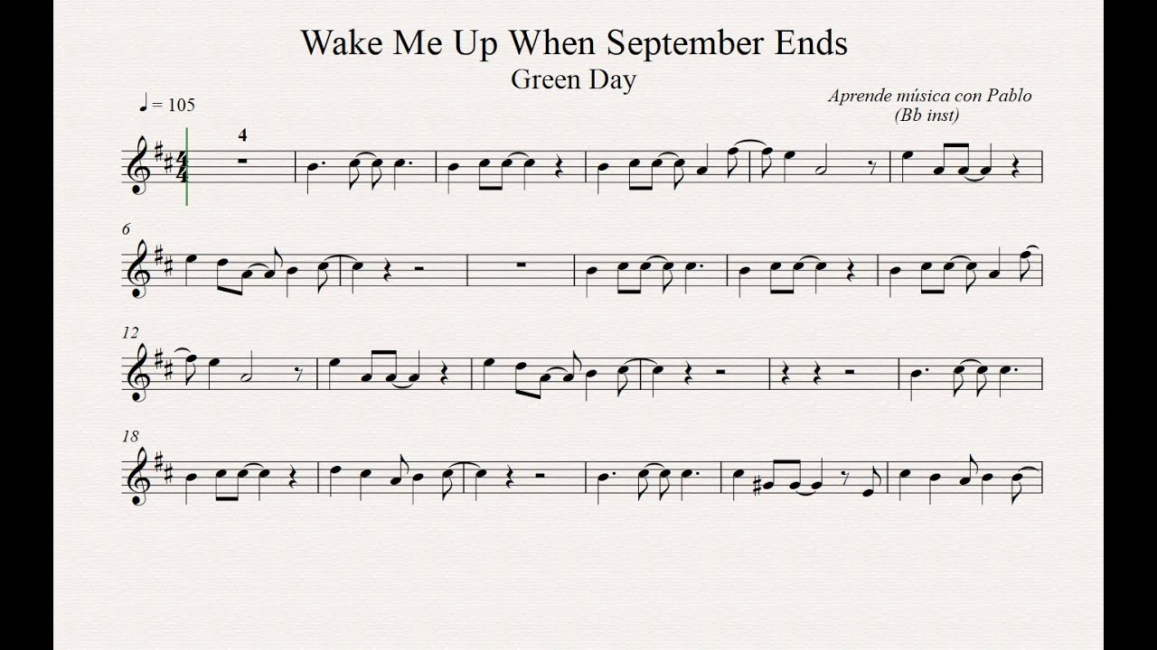 Wake Me Up When September Ends By Green Day Easy Solo