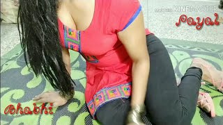 Indian Hot Tight Leggings Girl | How To Wear Red Black Churidar suit