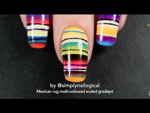 Multi Coloured Quadruple Scaled Gradient Mexican Rug Nail Art