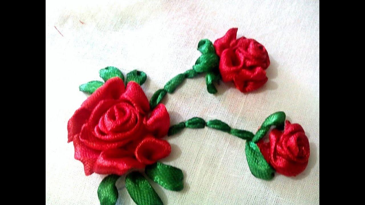 hand embroidery ribbon rose ribbon flowers ribbon work youtube