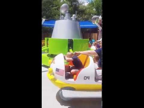 Jack and Daley ride the Space Buggies ride at Planet Snoopy inside Worlds of Fun