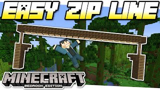 Minecraft Bedrock - EASY ZIP LINE( No Mods ) [ Tutorial ] MCPE / PS4 / Xbox / Windows & Switch
