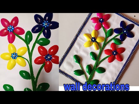 Wall decorations!! Spoon wall hanging!! Flower wall hanging!! Easy wall decor
