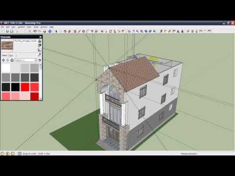[Sketchup] Dạy vẽ bản vẽ - Thiết kế 3D nhà tầng - B12: Thiết kế mái nhà