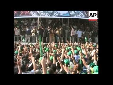 WRAP Thousands gather to back Hamas govt, PM Haniyeh faints during speech