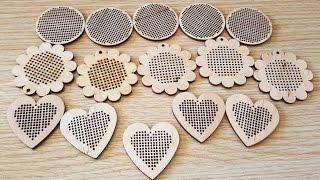Tahta etamin kolyelerim - My wooden cross stitch pendant
