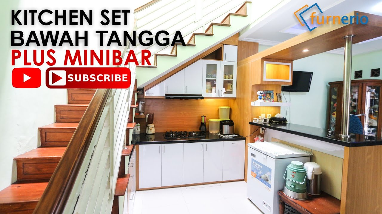Kitchen Set Minimalis Bawah Tangga Dengan Mini Bar Youtube