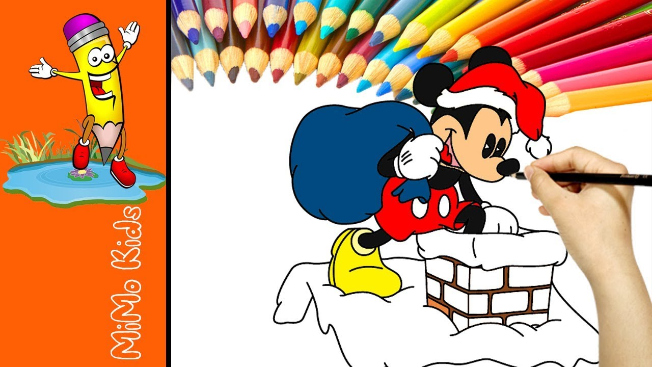 christmas coloring pages mickey mouse santa painting for kids learn colors with mickey