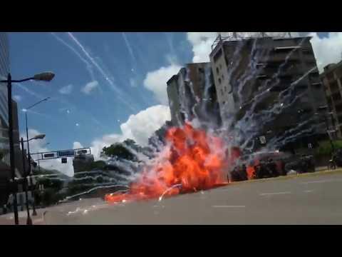 Huge explosion injures Venezuelan police officers during protest