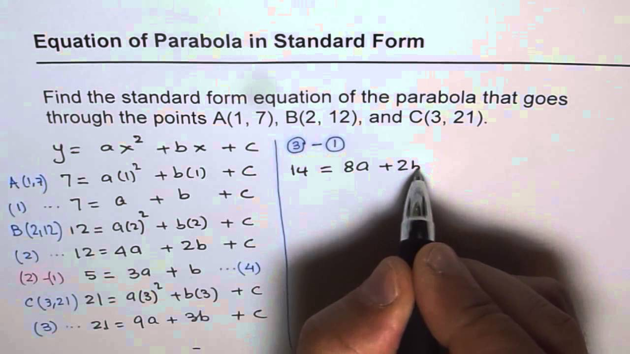 Find quadratic equation in standard form given three points youtube find quadratic equation in standard form given three points falaconquin