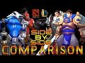 Dota 2 and League of legends - Side by Side - characters comparison