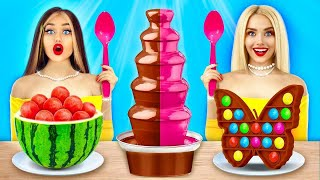 Chocolate Fondue Challenge! | Eating Chocolate VS Real Food for 24 HRS by RATATA YUMMY