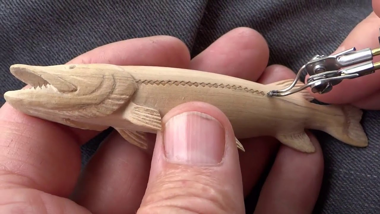 Carving a Miniature Wooden Pike Fish
