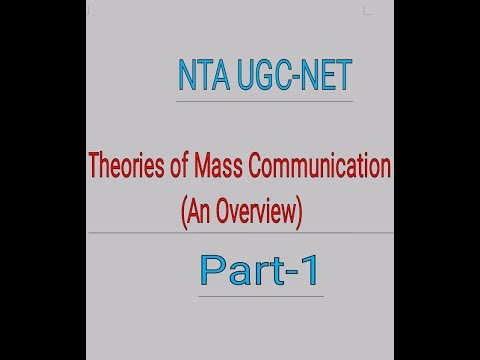 UGC-NET Theories Of Mass Communication (Part-1)