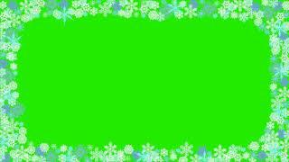 Футаж рамка новогодняя снежинки на зеленом фоне хромакей / footage frame snowflakes hromakey