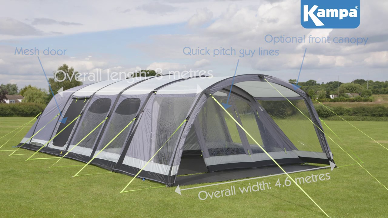 K&a Studland 8 AIR Pro Tent & Kampa Studland 8 AIR Pro Tent - YouTube