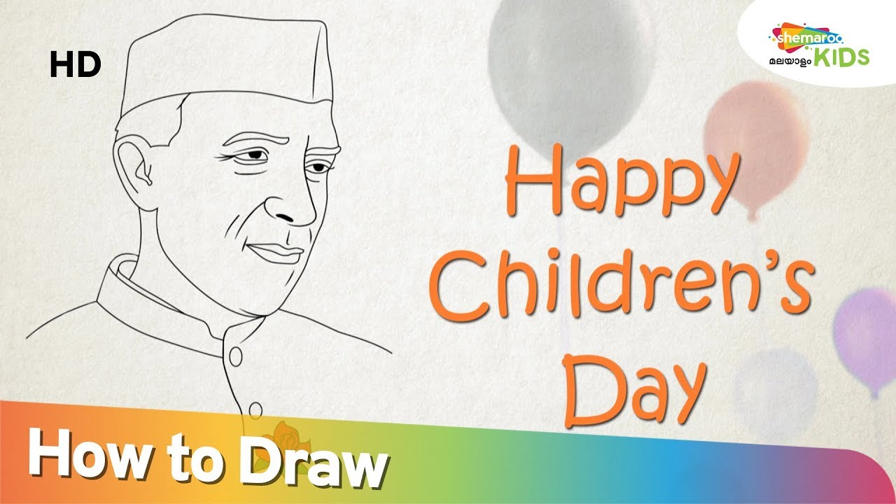 Jawaharlal Nehru Colour Drawing Childrens Day Special Chacha