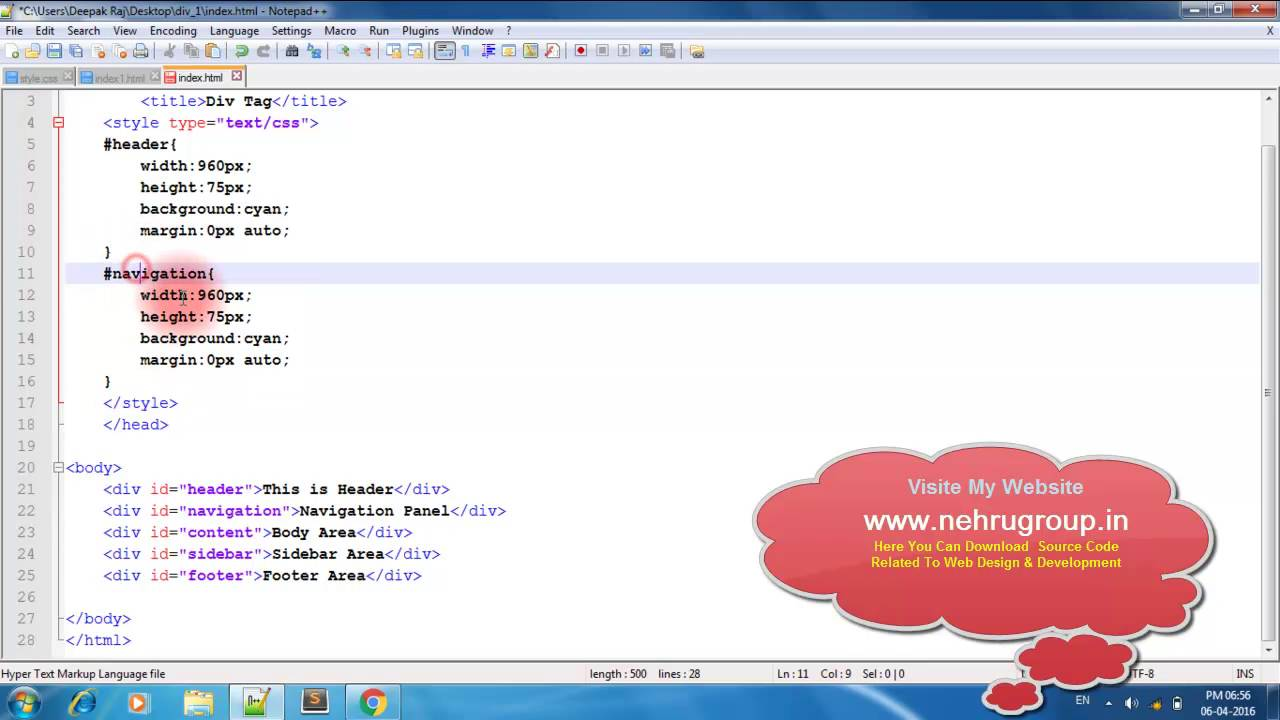 Html div tag in hindi youtube - Div tag in html ...