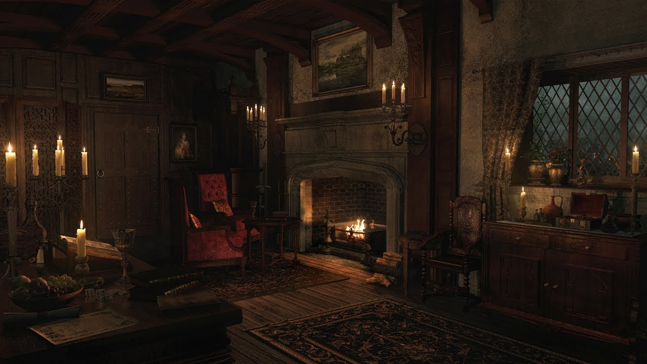 Rain & Thunderstorm Sounds | Crackling Fireplace | 3 Hours
