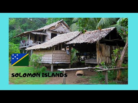 SOLOMON ISLANDS, traditional MELANESIAN VILLAGE in GUADALCANAL (Pacific Ocean)