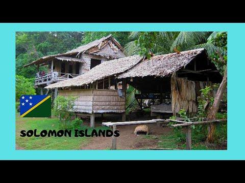 SOLOMON ISLANDS, traditional MELANESIAN VILLAGE in GUADALCANAL (Pacific Ocean)