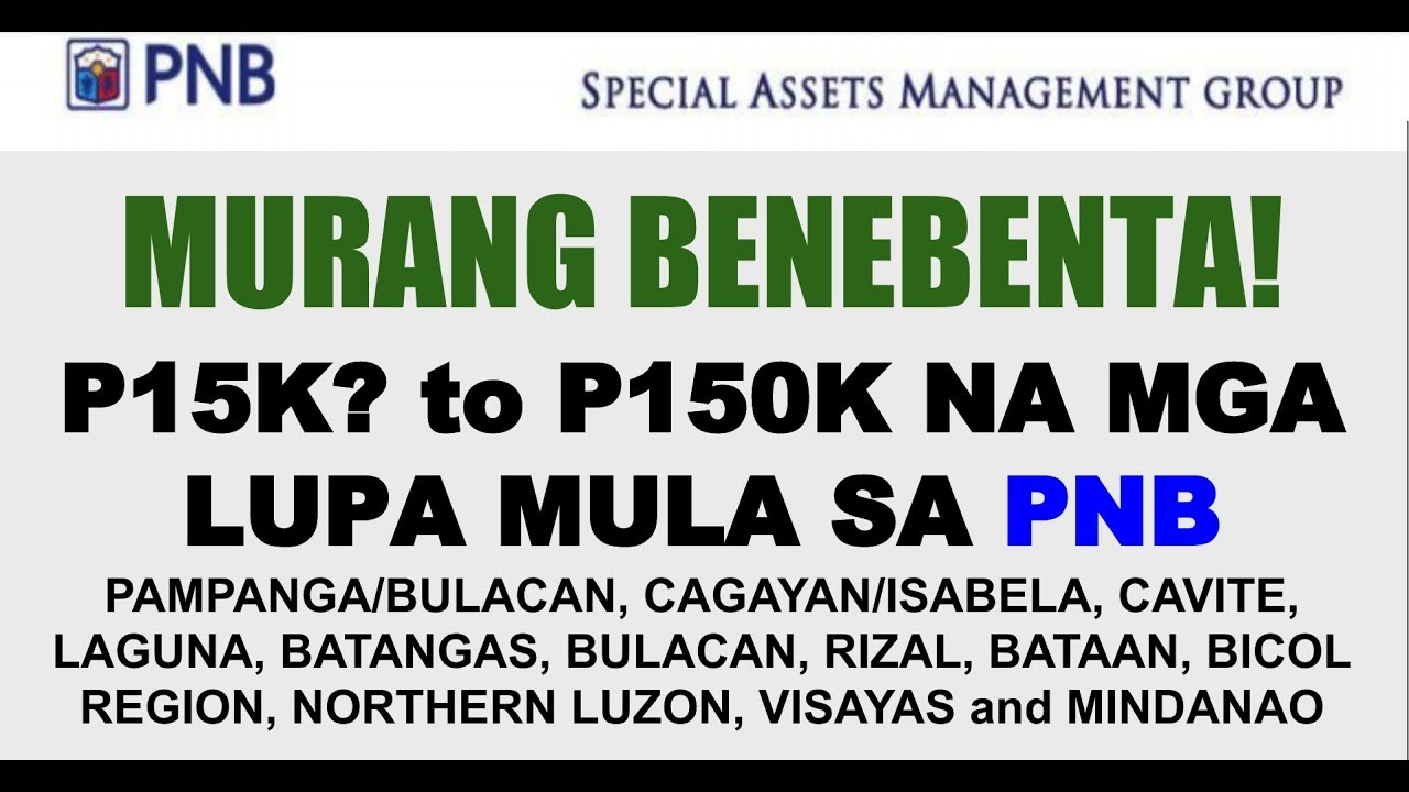 Pnb Lots For Sale As Low As P15k To P150k Foreclosed