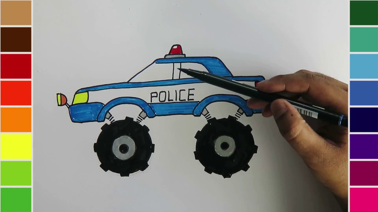 Car Truck Coloring Pages : Learn drawing and coloring for kids monster police car youtube