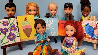 Mother's Day 2021 ! Elsa & Anna toddlers - gifts - art center - paintings - Barbie helps