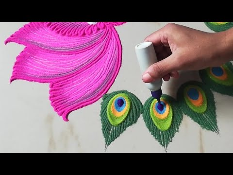 Lotus Rangoli | Peacock Feather Rangoli by Sangeeta | Navratri Durga Puja Laxmi Pooja Diwali Rangoli